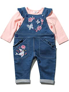 972ad0e6b bluezoo Kids Baby Girls  Blue Denim Dungarees and Pink Bunny Top Set ...