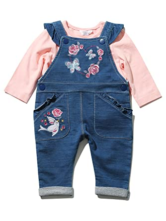 2f9d22f1f M Co Baby Girl Cotton Blue Denim Look Embroidered Frill Dungarees ...