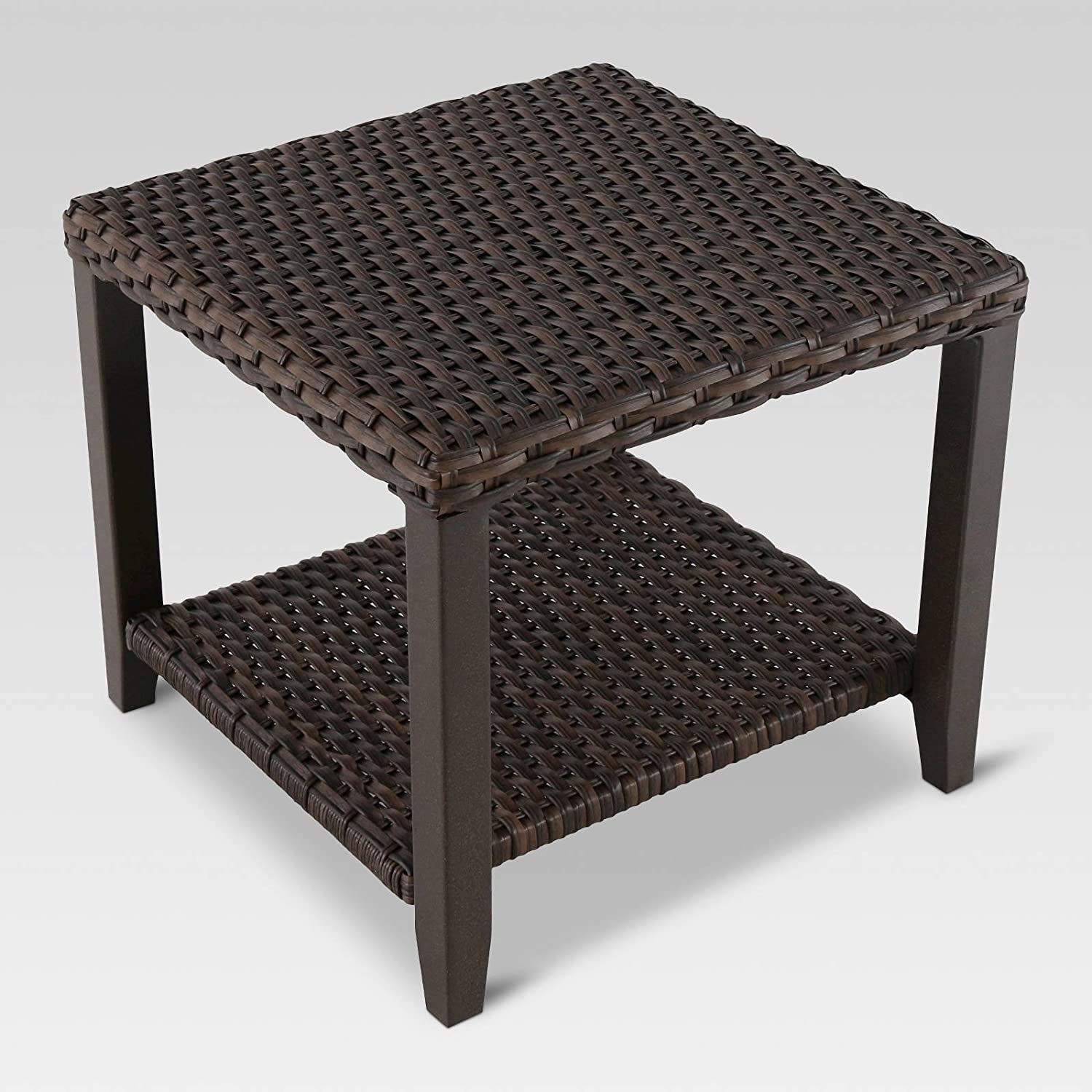 Amazon com halsted wicker square patio side table garden outdoor