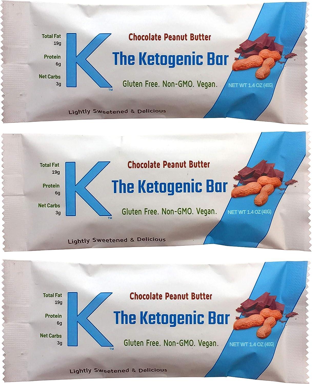 K The Ketogenic Bar - Chocolate Peanut Butter Keto Bars - High Fat, Low Carb, Gluten Free, Vegan, Non-GMO. 12 Pack K Bars