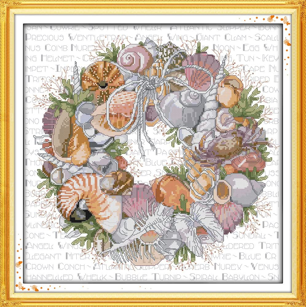56cm/×56 or 21.84/×21.84 Joy Sunday Cross Stitch Kits,Still Life Style,The Conch Wreath,11CT Stamped