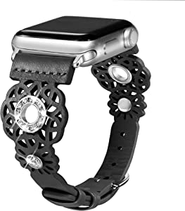 Secbolt Leather Bands Compatible with Apple Watch Band 38mm 40mm iWatch Series 6/5/4/3/2/1 SE, Soft Top Grain Genuine Leather with Rhinestones Wristband Strap Accessories Women, Black Small