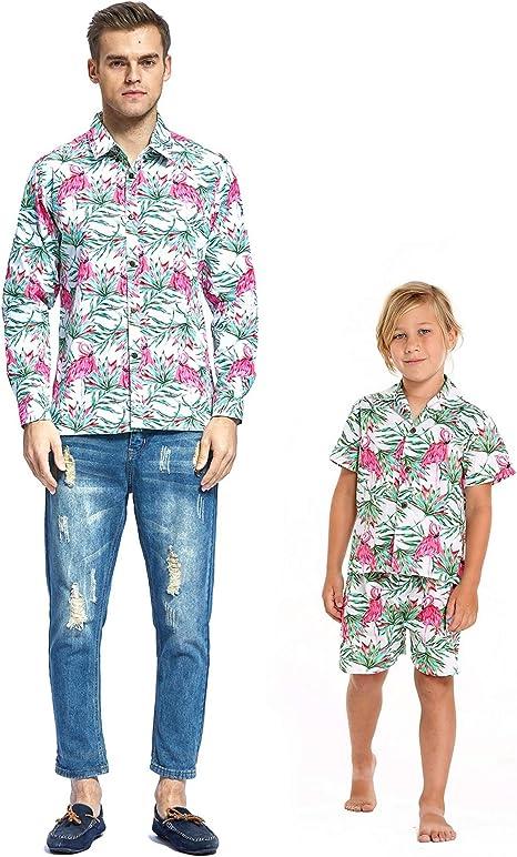Matching Hawaiian Luau Outfit Men Boy Shirts in Sunset Red