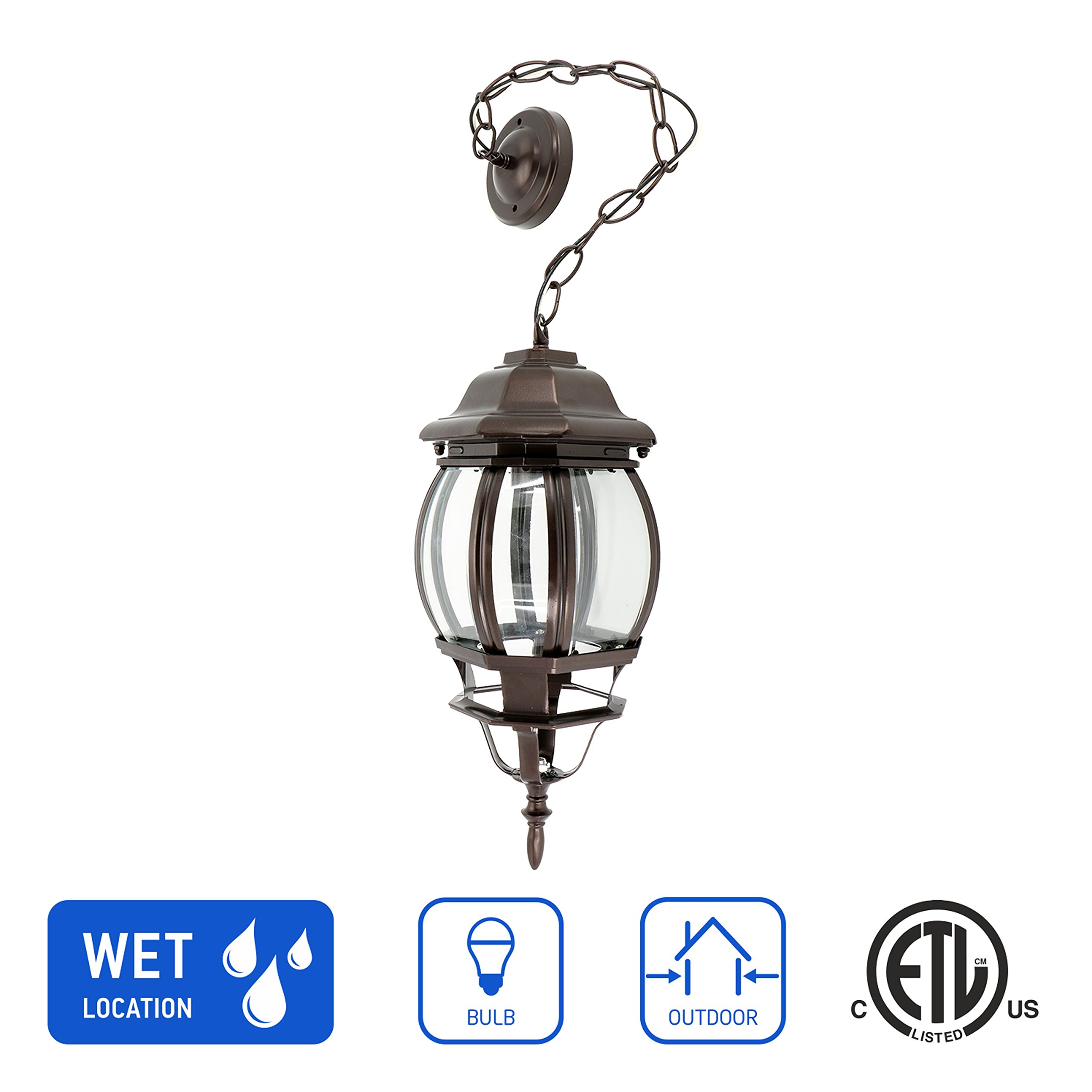 in Home 1-Light Outdoor Pendant Lantern L08 Series Traditional Design Bronze Finish Clear Glass Shade, ETL Listed