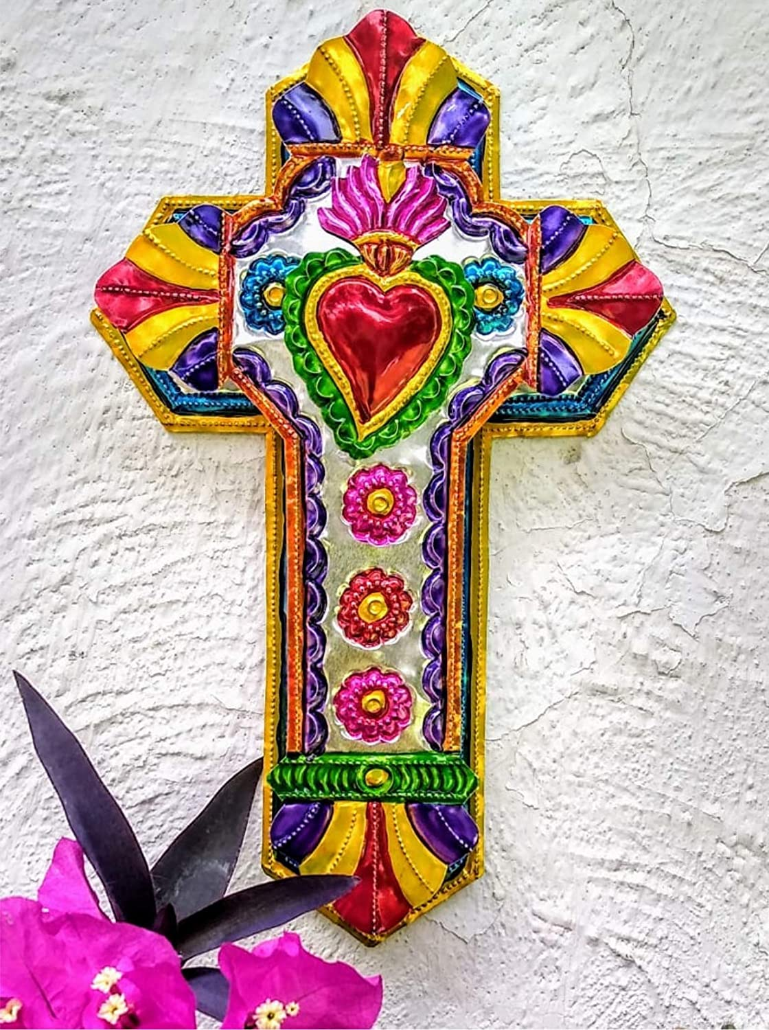 "Mexican Cross Art Wall Decor 12"" x 7.5"" Tin Folk Art Sacred Hearts Hand Painted Embossed Colorful Ornament Metal Charms Ex Voto Milagros Mexicanos -Handmade"