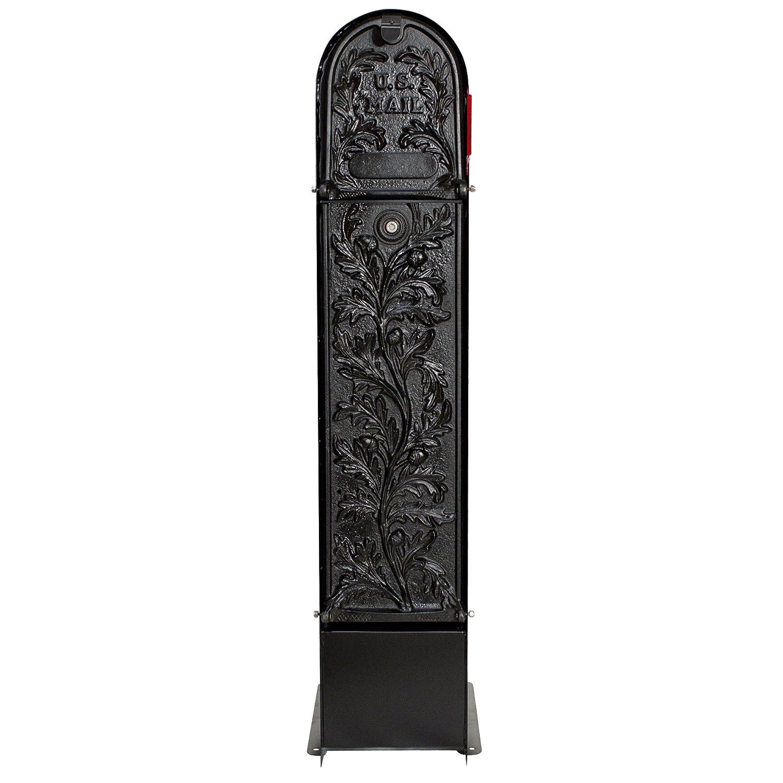 mailkeeperロック安全Decorative Pedestalメールボックスモデル100ブラックRunningオーク B00Q5YTMYU