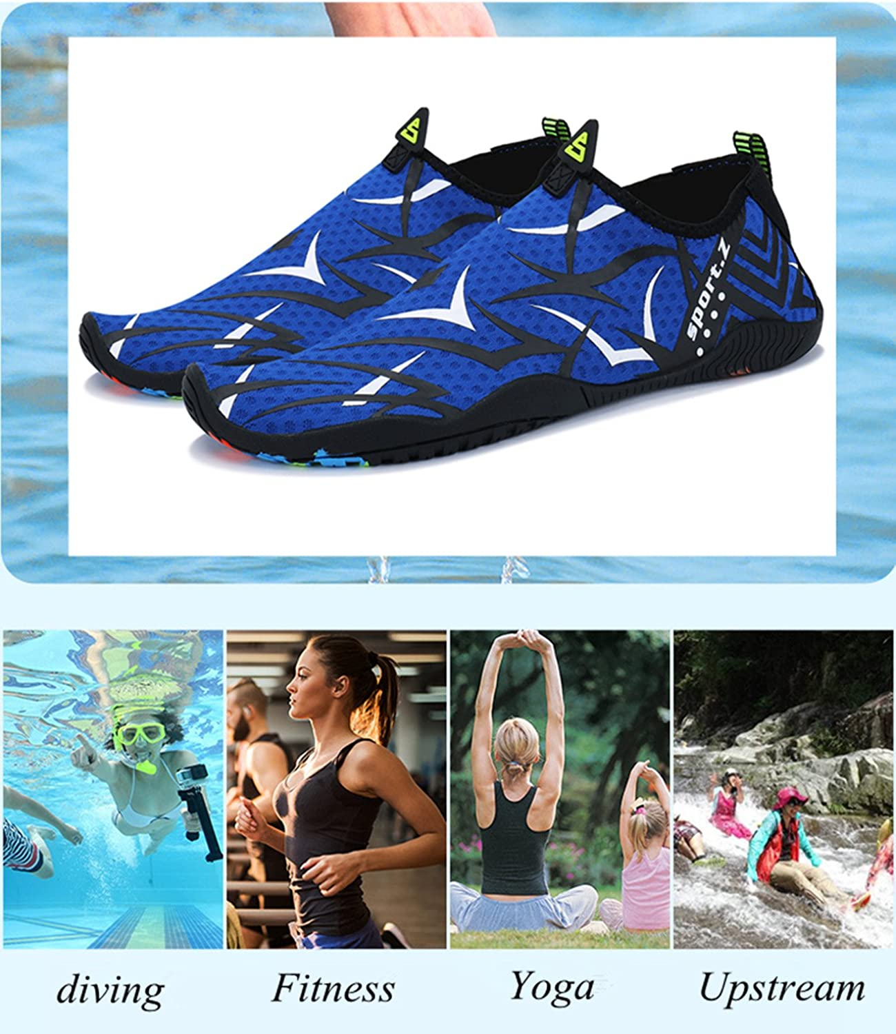 Bling Bo Water Shoes for Mens Womens Beach Swim Shoes Quick-Dry Breathable Elastic Mesh Soft Drainage Holes Pool Shoes