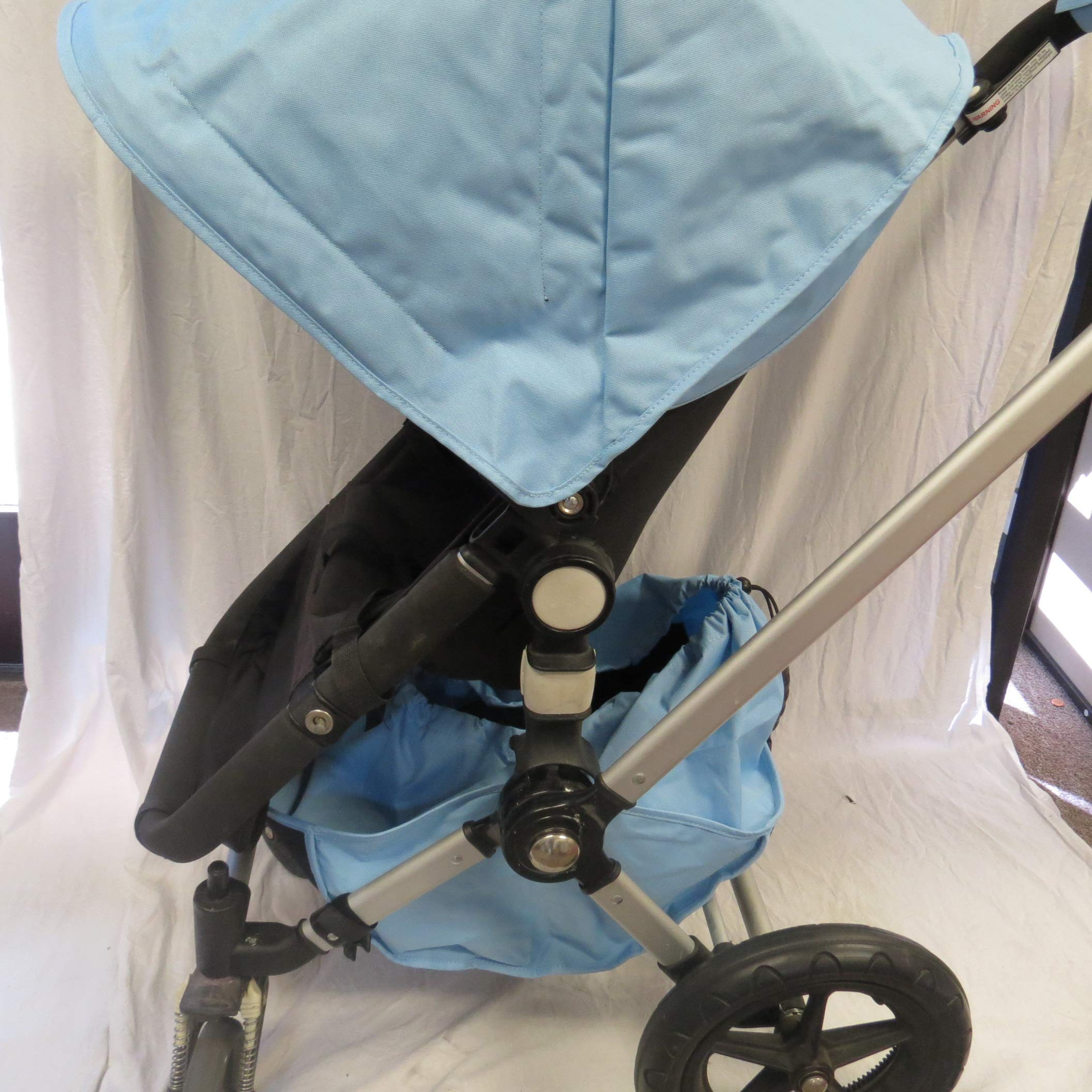Light Blue Sun Shade Canopy Wires and Large Under Seat Storage Basket Plus Free Handle Bar Covers for Bugaboo Cameleon 1, 2, 3, Frog Baby Child Strollers by Ponini (Image #5)