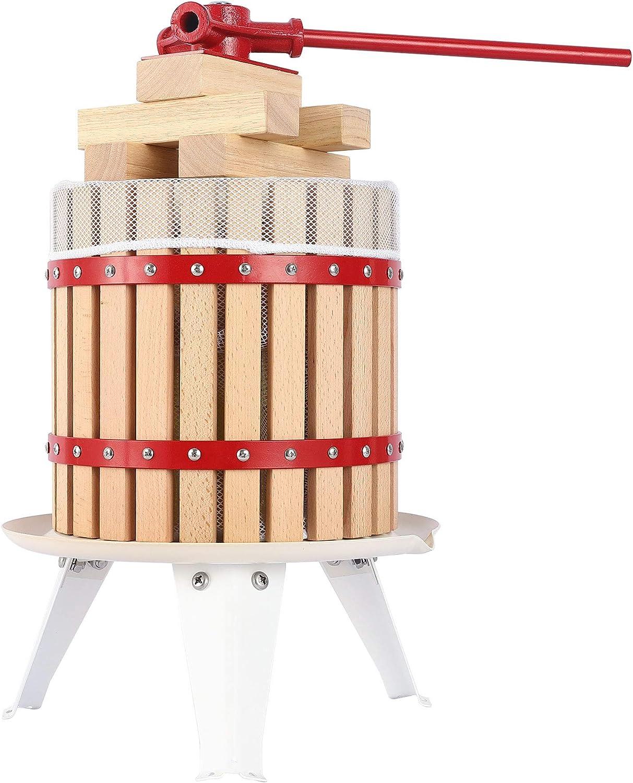 YUDA Upgraded Manual Fruit Wine Press W/ 8 Blocks 100% Nature Oak, Cider Apple Grape Berries Crusher Juice Maker (3.17 Gallon)