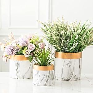 Indoor Plant Pots - 3 Pack Set, 4 + 5 + 6 Inch Planter Live White Orchid Pot, Ceramic Flower Marble Vase with Gold Paint Decor, Unique Modern Classy Succulent Holder Maceteros para Plantas interiores