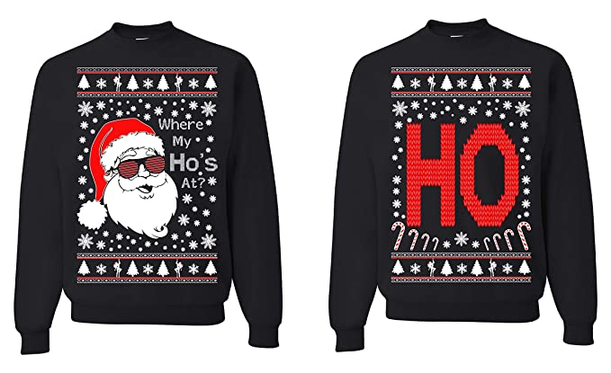 Tutiinca Where My Hos At Christmas Couples Sweaters Ugly