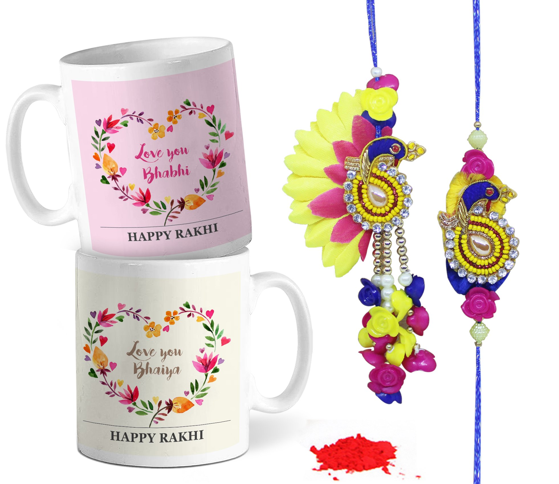 Tied Ribbons Traditional Rakhi Gift Set for Rakshabandhan Lumba Rakhi for Brother and Bhabhi Gift Pack (Designer Lumba Rakhi Set, Printed Coffee Mug, Rakshabandhan Special Card)