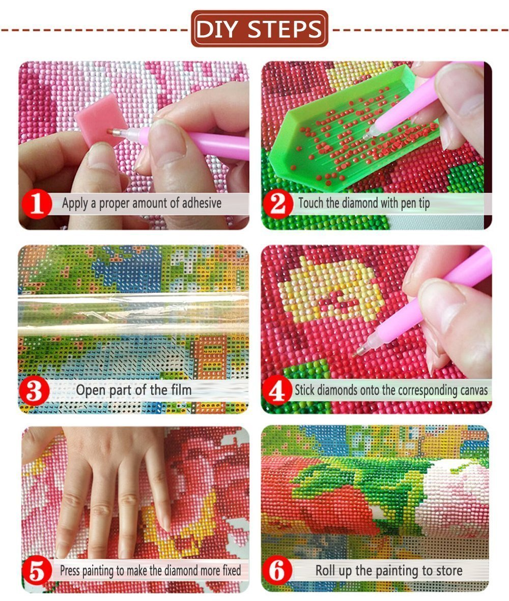 WiHome 5D Diamond Painting Kits for Adults Full Drill Cleopatra Square Embroidery Rhinestone Painting
