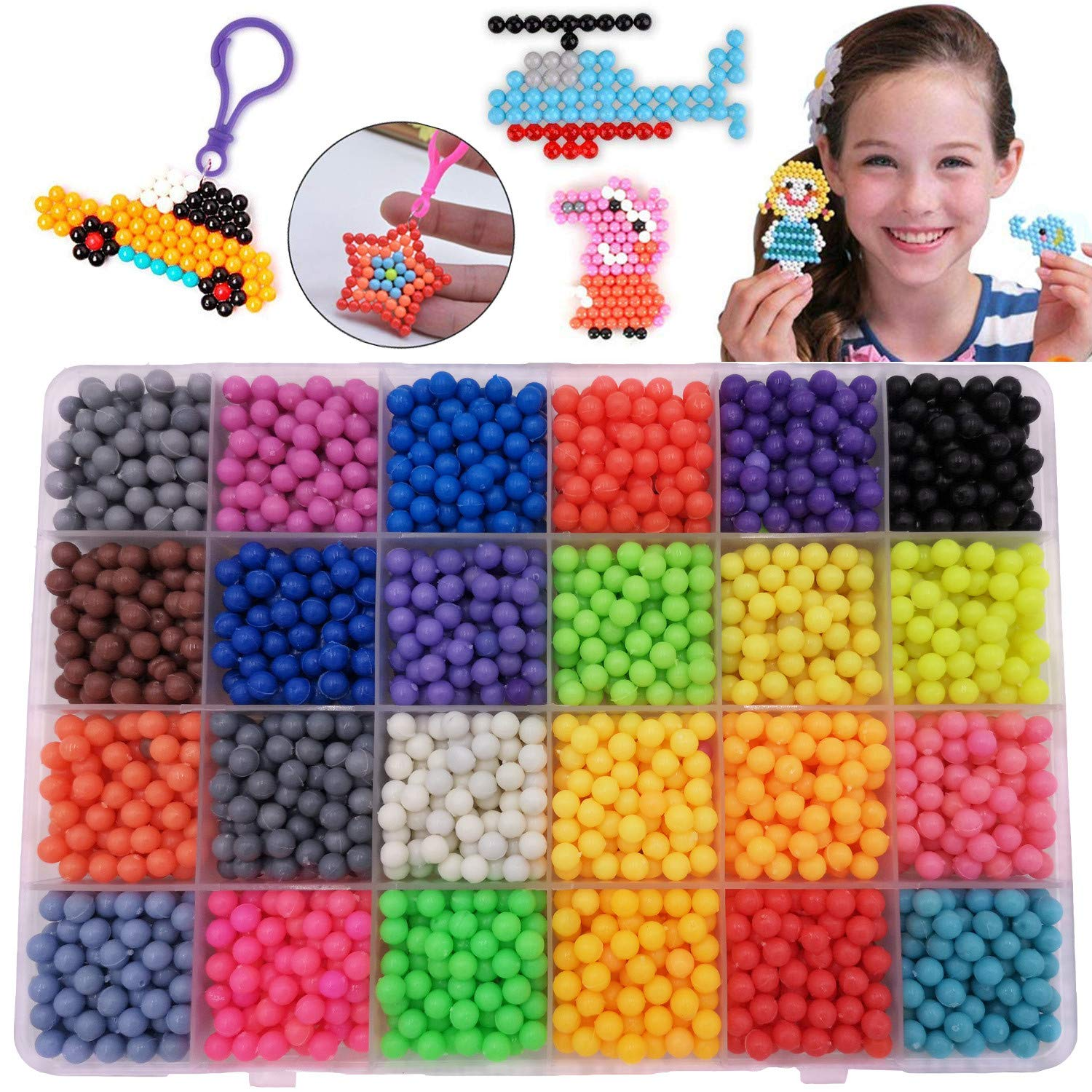 Time-killer Fuse Beads Kit - 2400 pcs 24 Colors Water Sticky Bead with DIY Pegboard and Full Set Accessories Art Crafts Educational Toys for Kids Beginners (2400 Beads Complete Set)