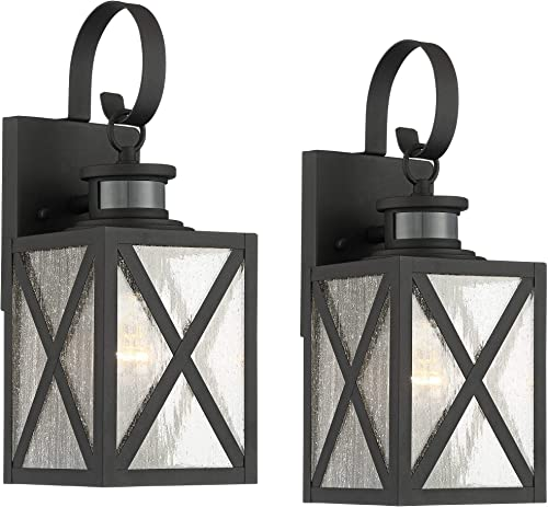 Welling Vintage Outdoor Wall Light Fixtures Set of 2 Carriage Style Textured Black 14 1/2″ Clear Seedy Glass Dusk to Dawn Motion Sensor