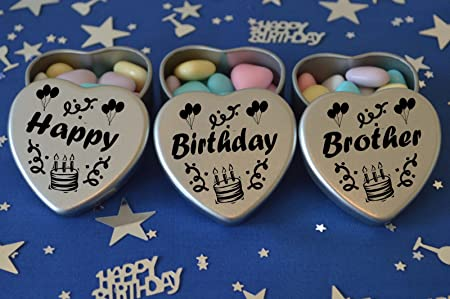 Happy Birthday Brother Gift Set Of 3 Silver Mini Heart Tins Filled With Chocolate Dragees