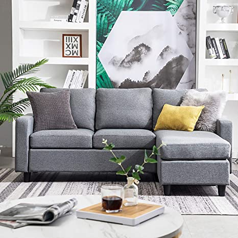 Fantastic Honbay Convertible Sectional Sofa Couch Modern Linen Fabric L Shape Couch For Small Space Grey Grey Dailytribune Chair Design For Home Dailytribuneorg