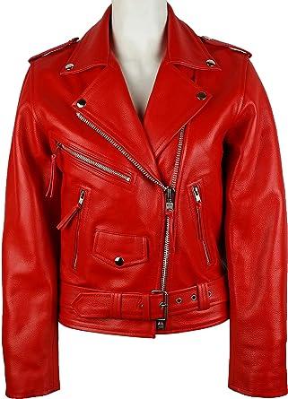 2bbeca619b6 UNICORN Womens Classic Brando Biker style - Real Leather Jacket - Red  7Z   Amazon.co.uk  Clothing