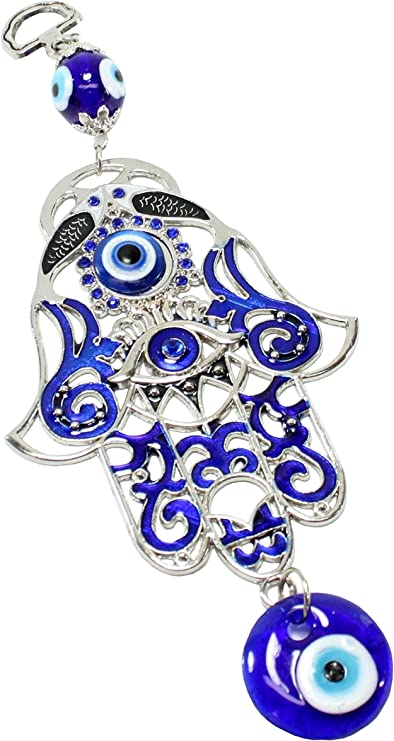 Large Owl and Turkish Blue Evil Eye Amulet Wall Hanging home decor Protection