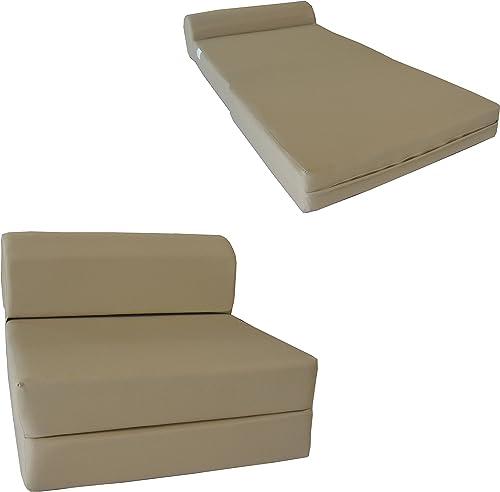 D D Futon Furniture Tan Sleep Chair Folding Foam Bed, Sofa Mattress 6 x 32 x 70, 1.8 pounds Density Foam