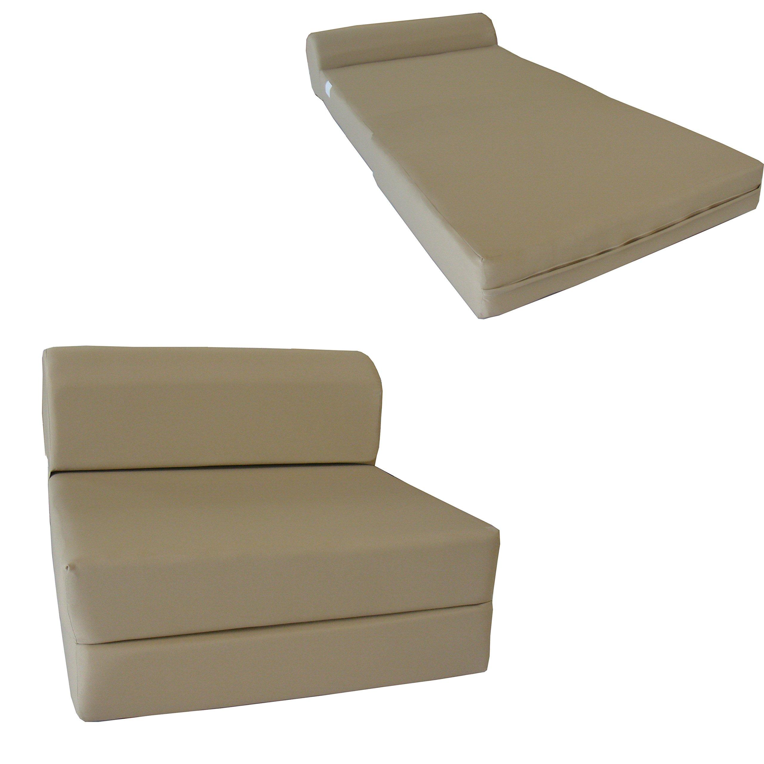 Chair Folding Foam Bed, Studio Sofa Guest Folded Foam Mattress (6'' x 32'' x 70'', Tan)