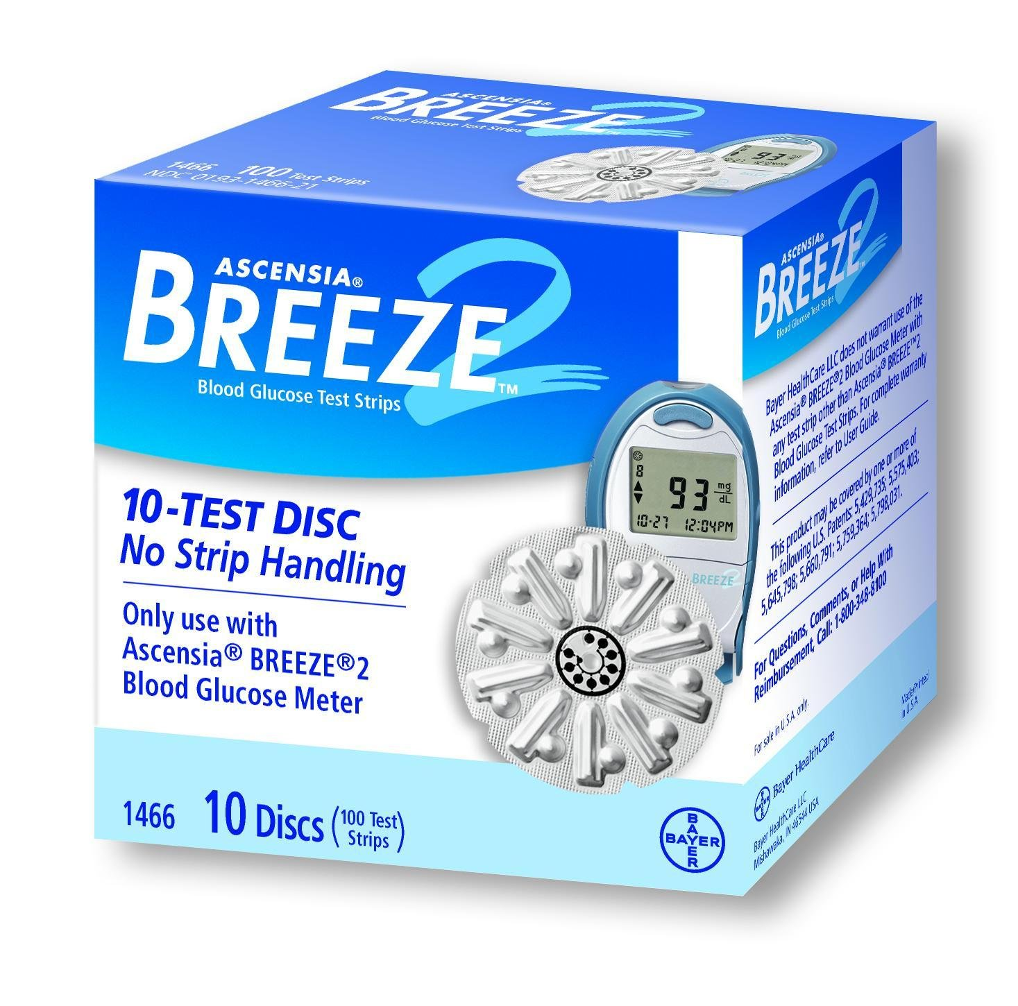 Bayer's Breeze2 Blood Glucose Test Discs Retail/Box of 100