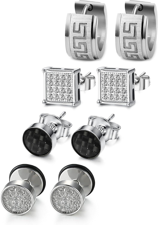 JOERICA 4 Pairs Stainless Steel CZ Stud Earrings for Men Women Hoop Earrings Huggie Piercing