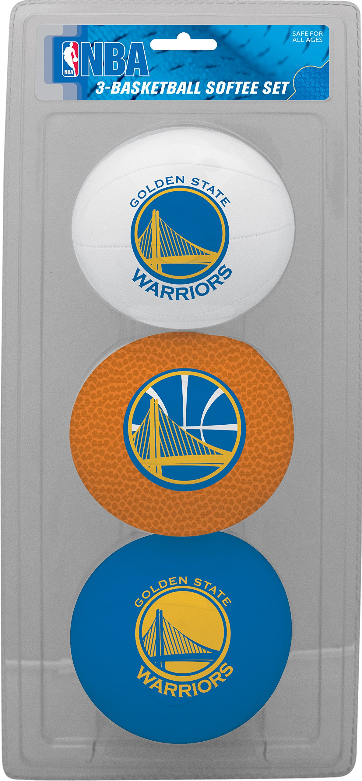 NBA Golden State Warriors Kids Softee Basketballs (Set of 3), Size 3, Blue by Rawlings