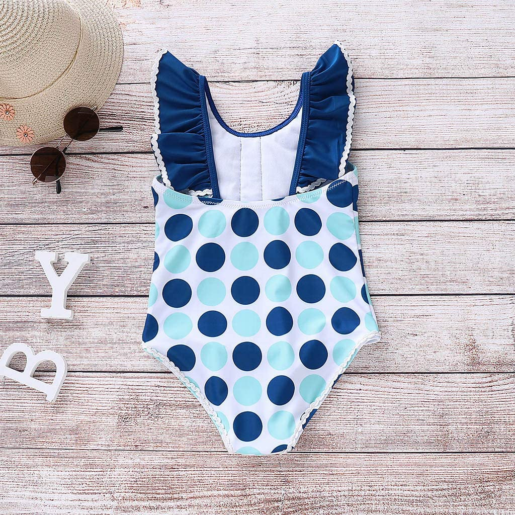 Waymine Sleeveless Polka Dot Ruffles Bikini One-Piece Beach Swimwear Toddler Girl Swimsuit