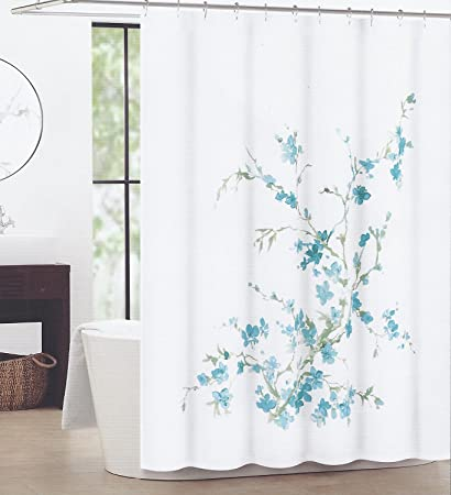 Tahari Home Shower Curtain Printemps Sage Branches With Teal Blue Flowers