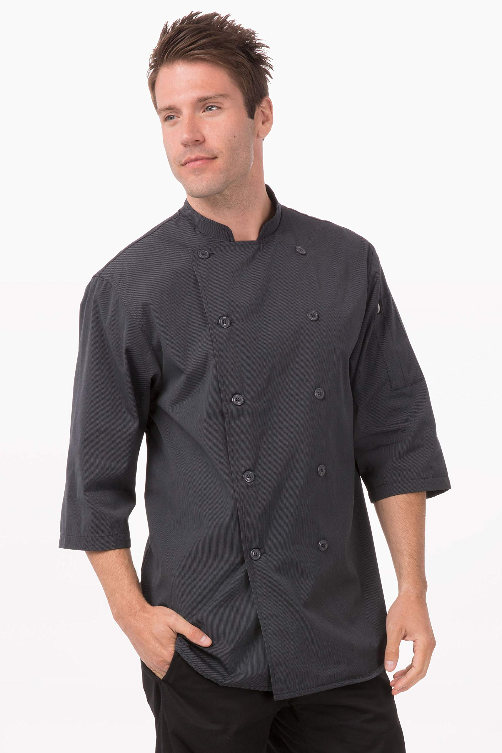 Chef Works Men's Brighton Chef Coat, Deep Grey, Large by Chef Works