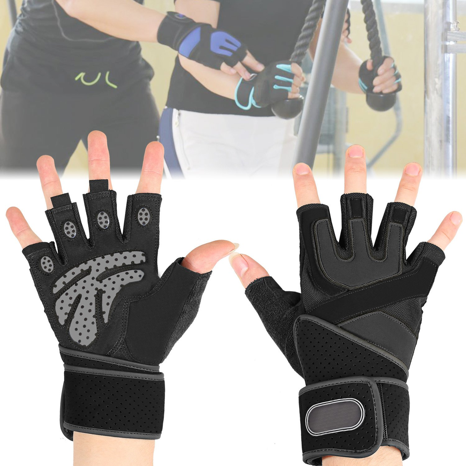 ANCHEER Weight Lifting Gloves with 18.5 Wrist Wraps Support for Gym Workout Black, M Anti-Slip and Extra Durability Pair