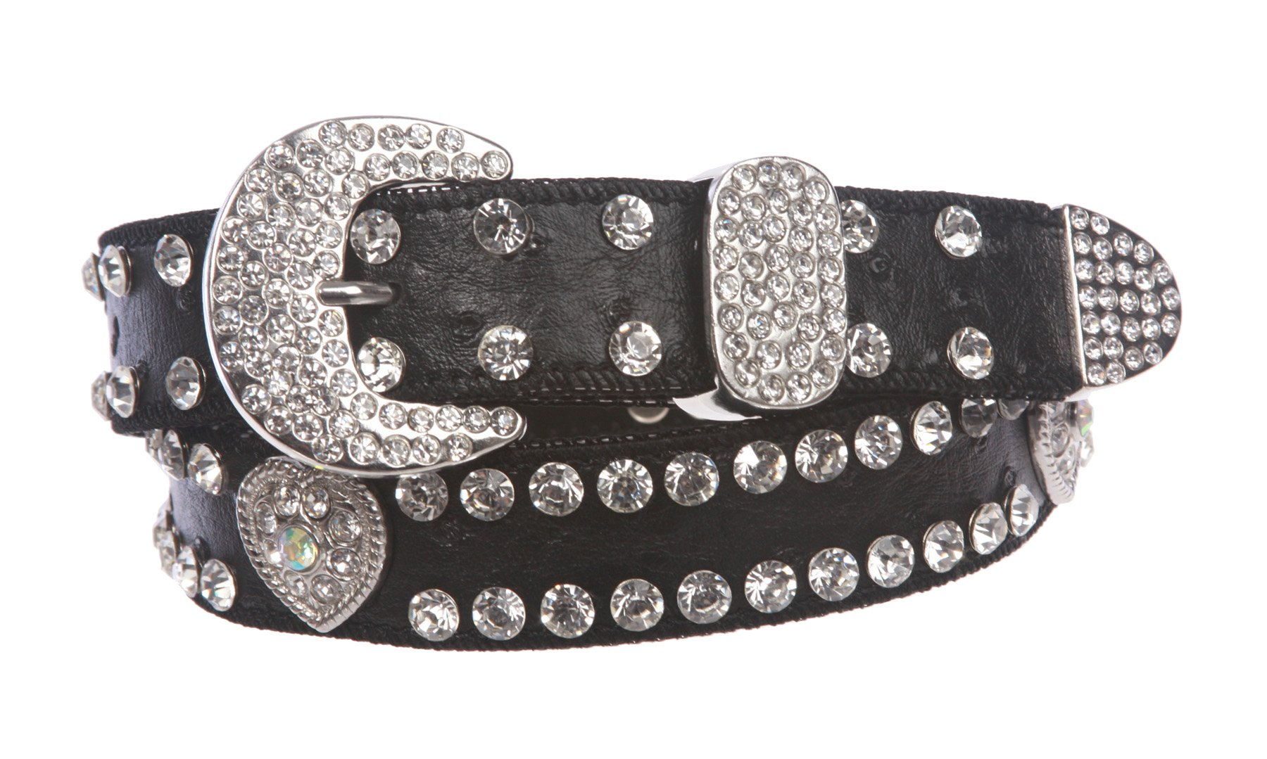 Kids 1 1/16'' (27 mm) Ostrich Print Heart Ornaments Skinny Rhinestone Belt, Black | 28'' by beltiscool (Image #1)