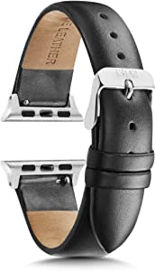 Watch Bands 38mm Women - Watch Bands Women - Watch Band 40mm Series 4 - Watch Band Leather - Leather Watch Band - Silver Watch Band - Womens Watch Band - Black - 1302