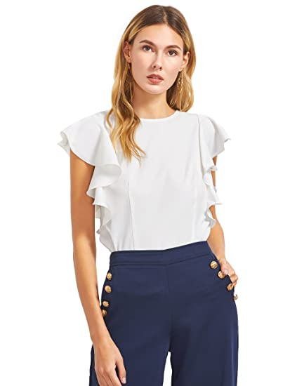 Makemechic Women S Solid Ruffle Sleeve Summer Tops And Blouses At