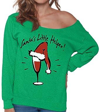 pekatees santas little helper sweatshirt christmas wine sweatshirt off shoulder ugly christmas sweater wine xmas tops