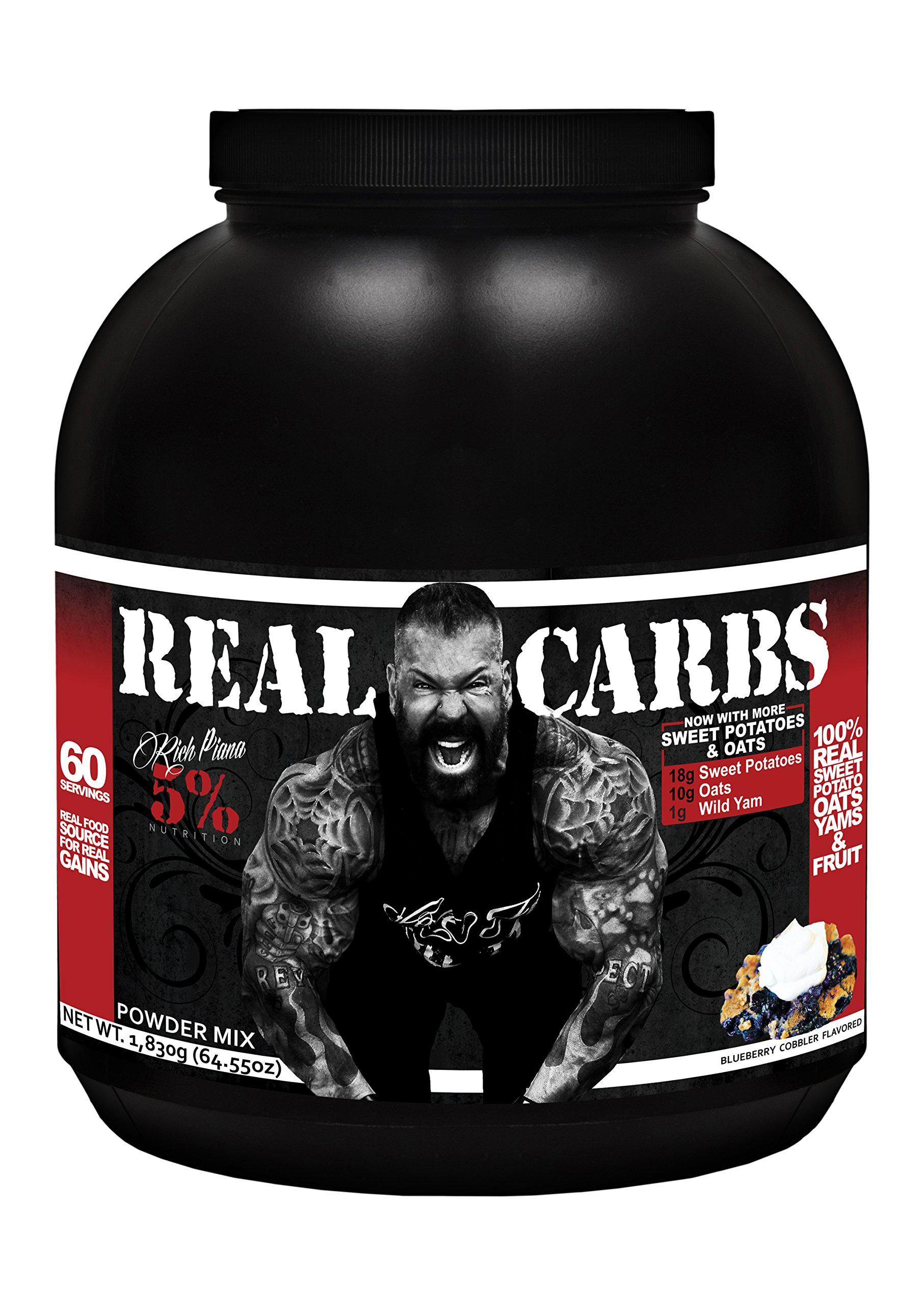 Rich Piana 5% Nutrition Real Carbs (Blueberry Cobbler) 64.55oz (1,830 Grams) 60 Servings