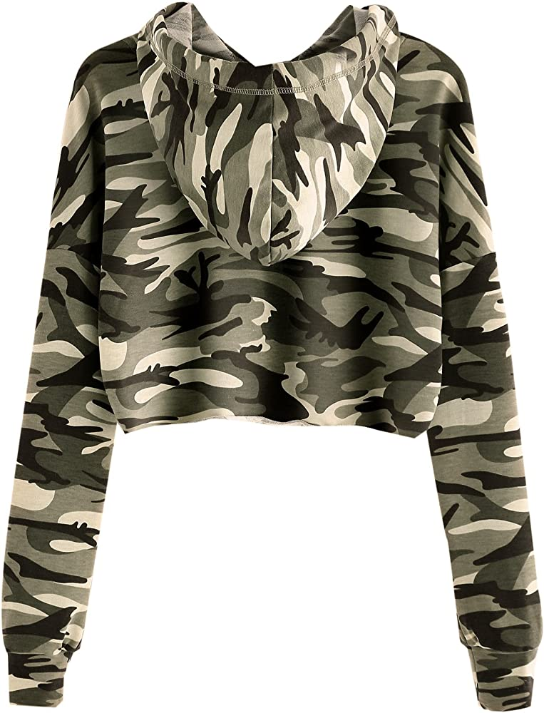 83af9c22a8fc1 MAKEMECHIC Women's Long Sleeve Camo Print Sweatshirt Crop Top Hoodies Army  Green XS. Back. Double-tap to zoom