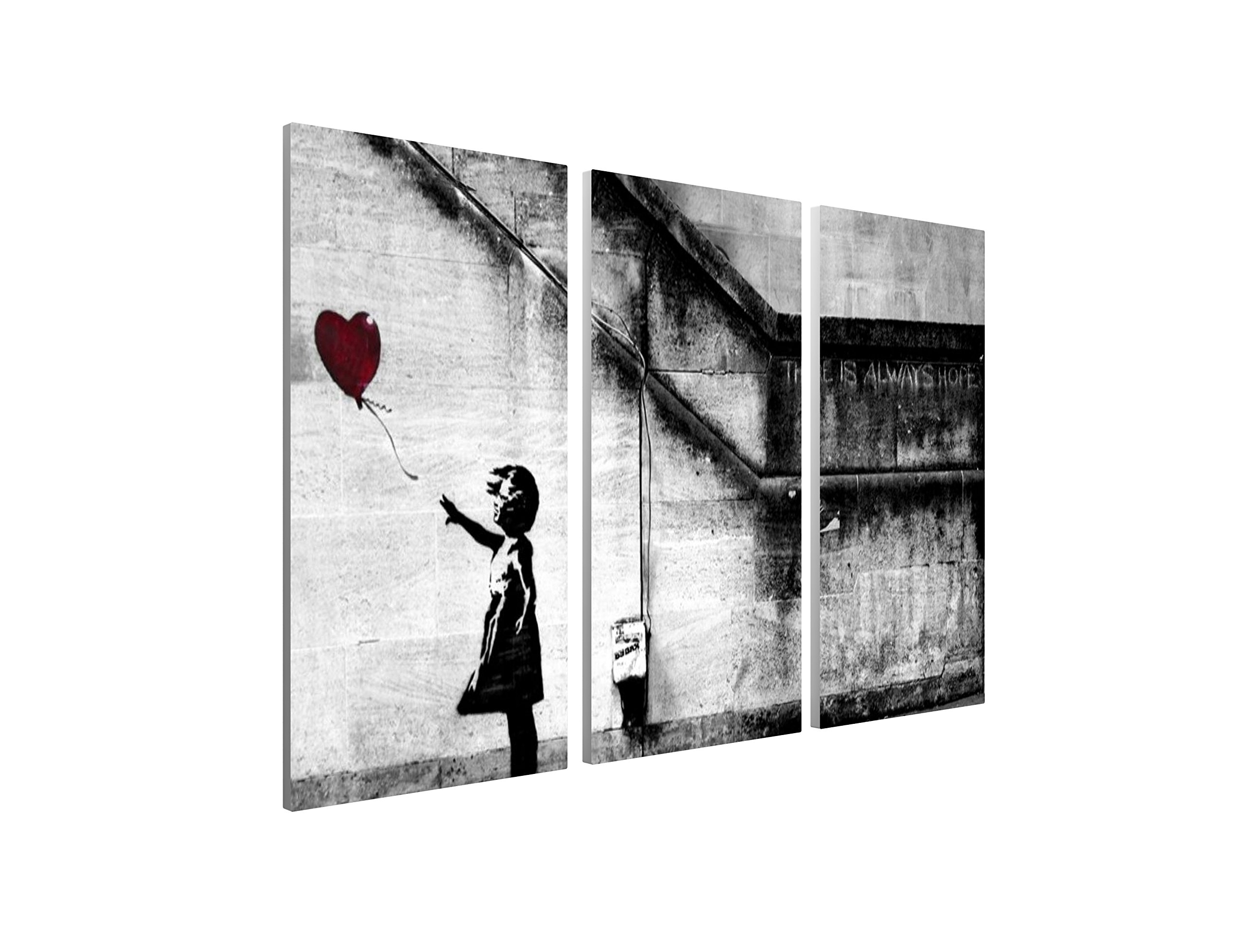 Pingo World 0121PUW827A ''Banksy Girl with Balloon (There is Always Hope)'' Gallery Wrapped Triptych Canvas Wall Art, 48'' x 30'', Variable
