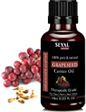 Seyal Grapeseed Oil 100% Pure & Natural, Therapeutic Grade Organic Cold Pressed, For Face, Nails, Hair & Skin