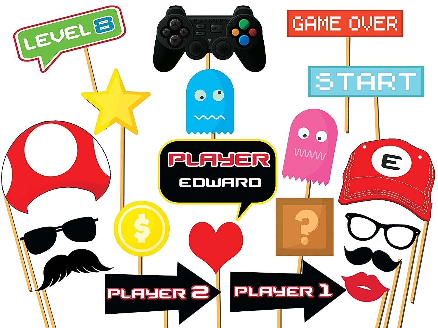 Custom video game photo booth props size 36x24 personalized game controller props video gaming party video game props gaming zone party decorations