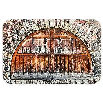 kisscase Custom puerta matrustic decoración fotografía de un ladrillo piedra Rampart con Oval puerta con impresión de fecha antigua materialart Decor Gris ...