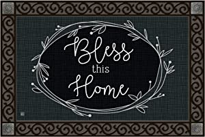 Studio M MatMates Rustic Wreath Blessing Decorative Floor Mat Indoor or Outdoor Doormat with Eco-Friendly Recycled Rubber Backing, 18 x 30 Inches