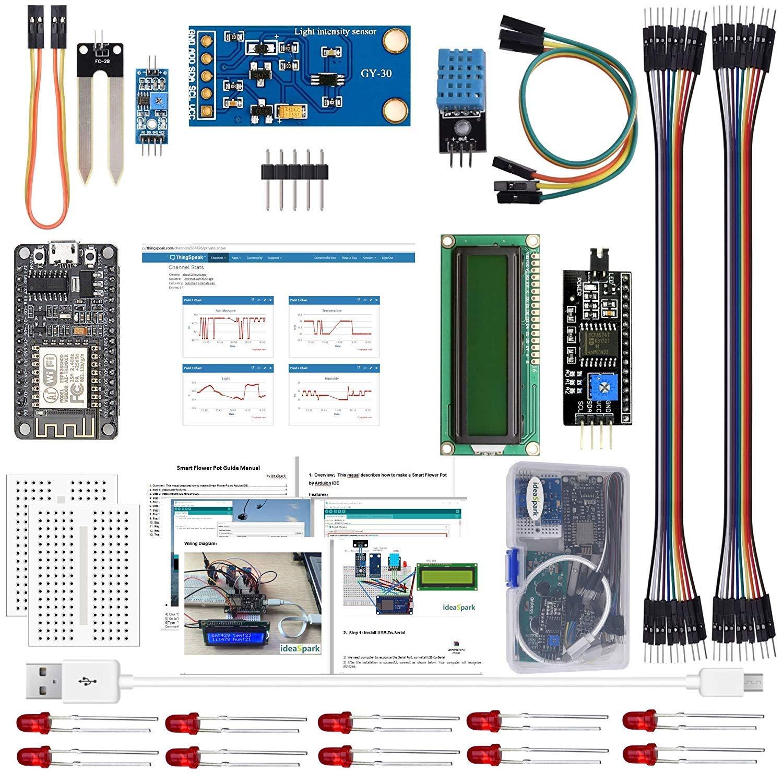 IDEASPARK ESP8266 Smart Flower Pot Kits with DHT11 Temperature and Humidity Sensor BH1750FVI Light Sensor Soil Moisture Sensor for Arduino IDE IoT Starter(Guidance Document Included)