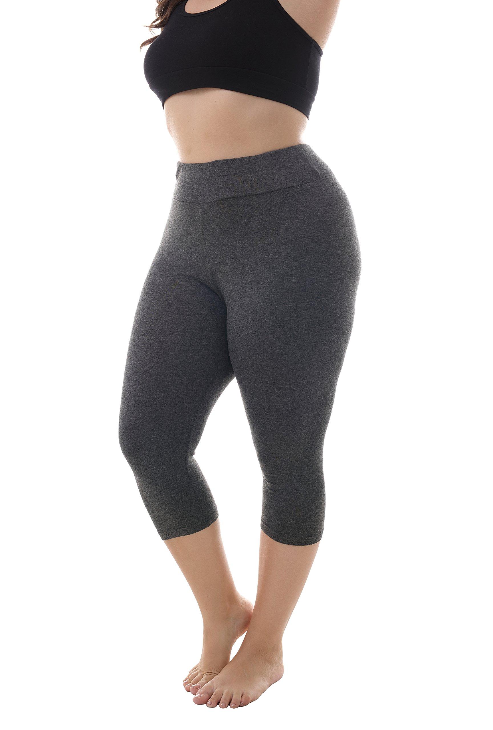 ZERDOCEAN Women's Plus Size Modal High Waist Capri Leggings for Summer Dark Gray 2X