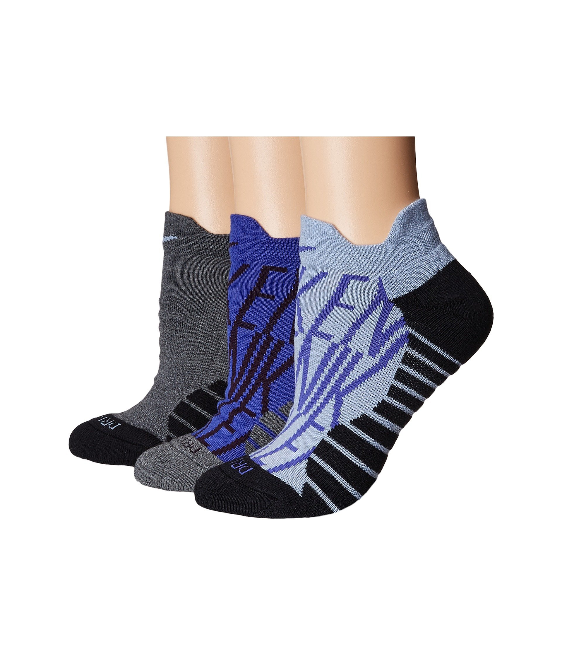 Nike Women`s Dry Cushion Graphic Low Training Socks (3 Pair) (Multicolor 8, Medium)