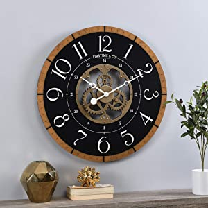 FirsTime & Co. Gold Carlisle Gears Clock, American Crafted, Aged Gold, 27 x 2.25 x 27 ,