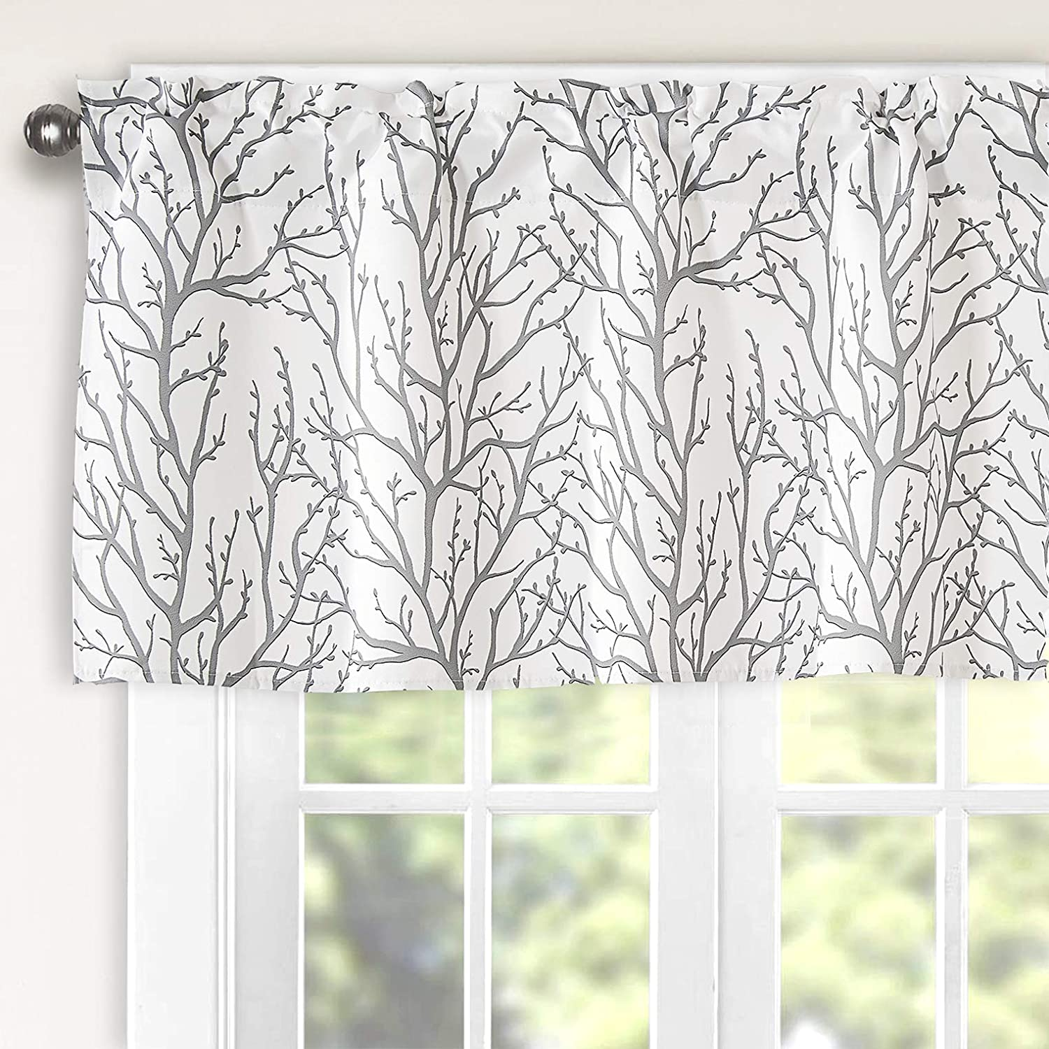 Th3mys Tree Branch Botanical Pattern Valance for Windows Rod Pocket Window Curtain Valance for Living Room Bedroom Kitchen 52 by 18 Inch Gray