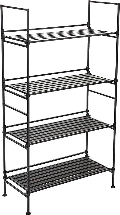 Neu Home 97204W-1 Storage Shelf, 4-Tier Wide, Espresso