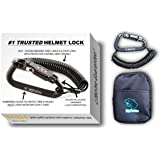 Motorcycle Helmet Lock & Cable. Sleek Black Tough Combination PIN Locking Carabiner Device Secures Your Motorbike, Bicycle or